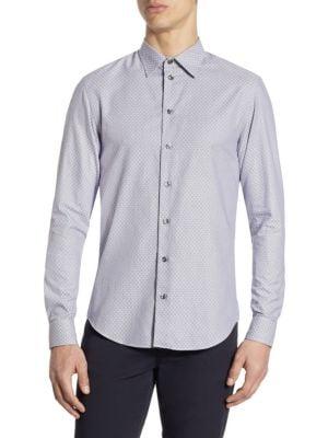 Tailored-Fit Geometric Print Cotton Shirt
