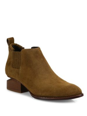 Kori Tilt-Heel Suede Oxford Booties