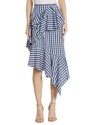 Asymmetric Gingham Plaid Skirt