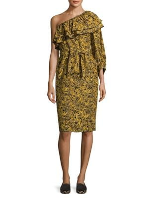 Rock-Rose Ruffled One-Shoulder Dress