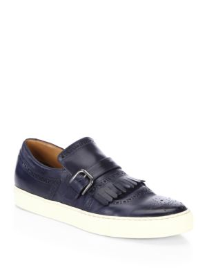 COLLECTION Kilty Buckle Leather Slip-On Sneakers