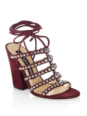 Elettra Studded Suede Block Heel Sandals