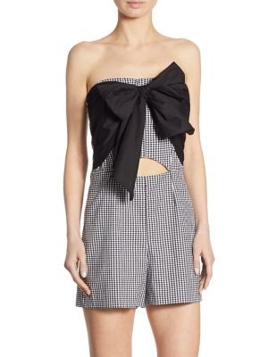 Gingham Bow Front Romper