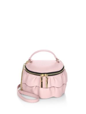Astor Ruffle Zip-Top Leather Crossbody Bag
