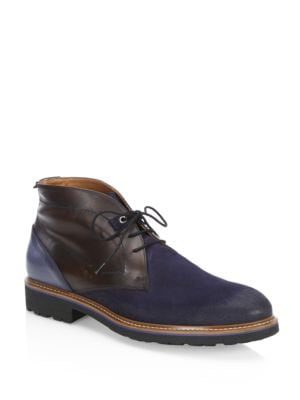 COLLECTION Mixed Media Leather Chukka Boots