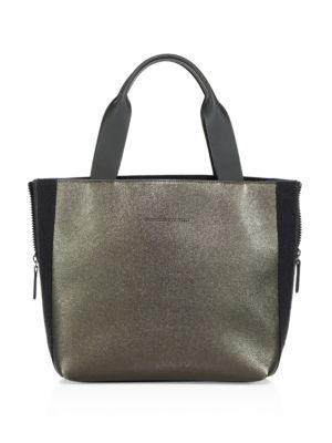 Side-Zip Metallic Leather Tote