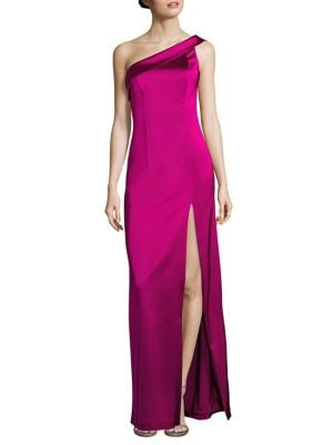 Asymmetrical Wide Strap Dolan One Shoulder Gown