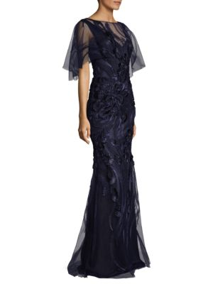 Embroidered Flutter Sleeve Gown