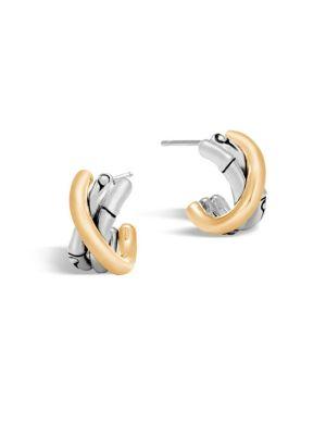 Bamboo 18K Gold & Silver J Hoop Earrings