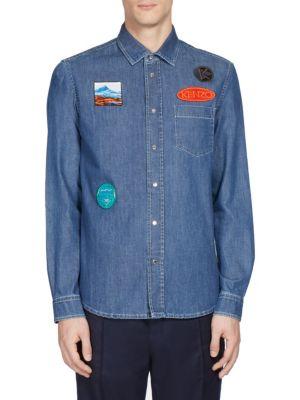 Badge-Trim Denim Casual Button-Down Shirt
