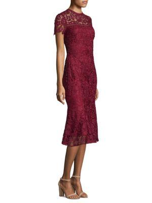 Short Sleeve Lace Midi Dress