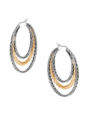 Classic Chain Hammered 18K Gold & Silver Medium Hoop Earrings
