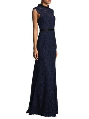 Cap Sleeve High Neck Lace Gown