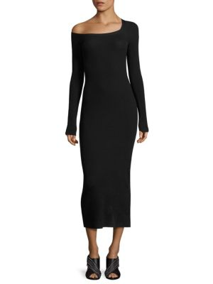 Brynn One-Shoulder Rib-Knit Midi Dress