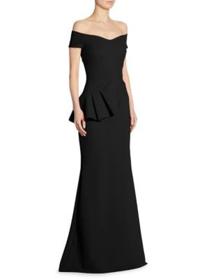 Lamia Off-The-Shoulder Peplum Gown