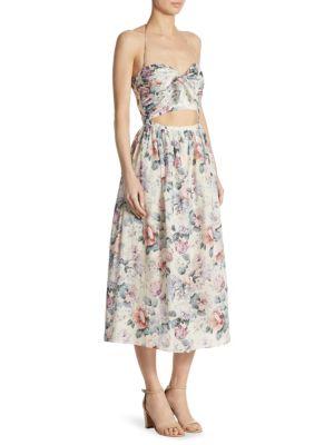 Jasper Tie Floral Midi Cotton Dress