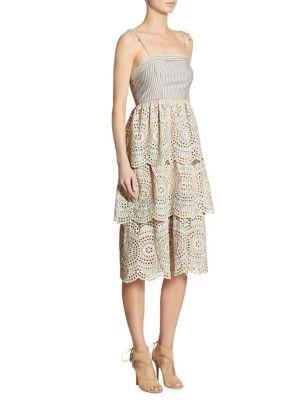 Meridian Striped Eyelet Dress