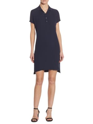 Short-Sleeve Silk Polo Dress