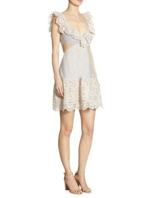 Meridian Striped Eyelet Lace Dress