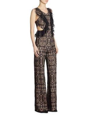 Anka Lace Ruffle Side Cutout Jumpsuit
