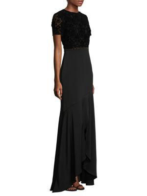 Short-Sleeve Velvet Lace Gown