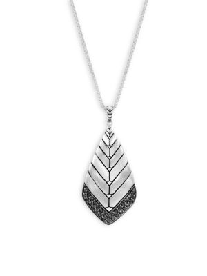 Modern Chain Black Sapphire & Brushed Silver Pendant Necklace