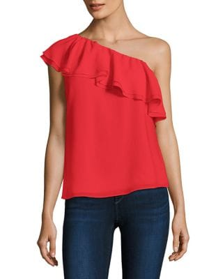 One-Shoulder Ruffled Silk Top by Rebecca Taylor