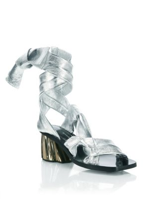 Strappy Metallic Leather Sandals