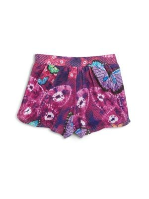 Girl's Butterfly Print Shorts