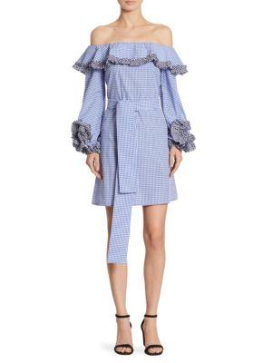 Miquela Off the Shoulder Belted Gingham Dress