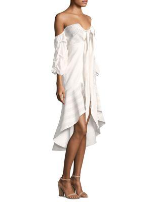 Zuki Off-The-Shoulder Flounce Hem Silk Dress