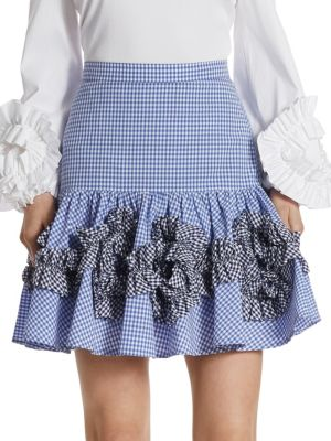 Daly Ruffle Gingham Cotton Skirt