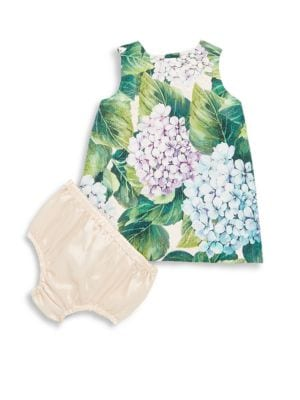 Baby's Botanical Print Dress and Bloomers Set
