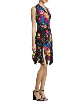 Bias-Cut Floral-Print Silk Dress