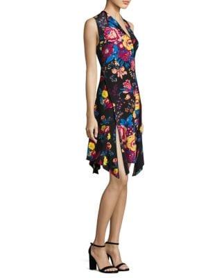 Bias-Cut Floral-Print Silk Dress