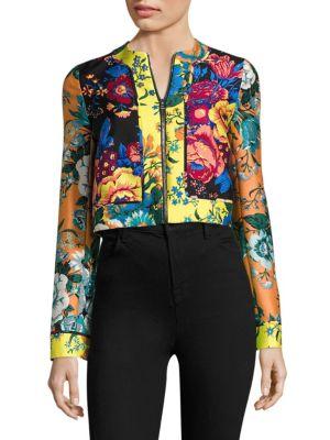 Paneled Floral-Print Wool & Silk Jacket
