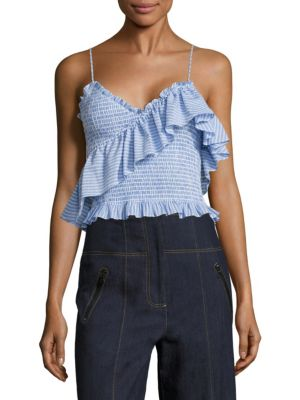 Mara Ruffled Smocked Cotton Poplin Cropped Top