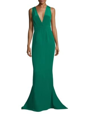 Deep V-Neck Silk Mermaid Gown