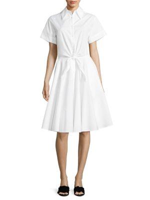 Tie-Front Cotton Shirtdress