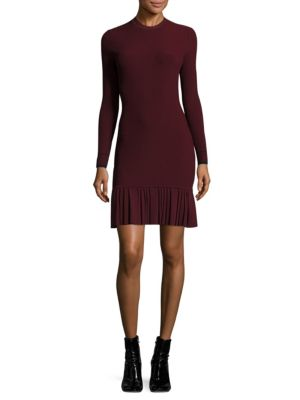 Pleated Rib-Knit Dress