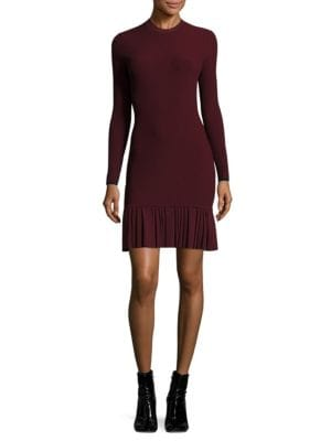 Pleated Rib-Knit Dress