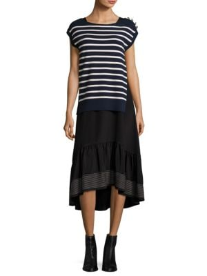 Sailor Layered Hi-Lo Dress