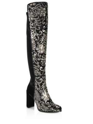 Alljil Tall Sequin-Embroidered Velvet Boots