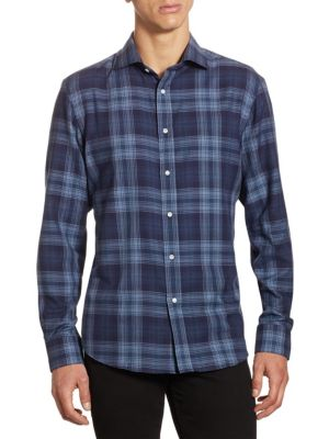 Purple Label Aston Slim-Fit Tonal Plaid Button-Down Shirt