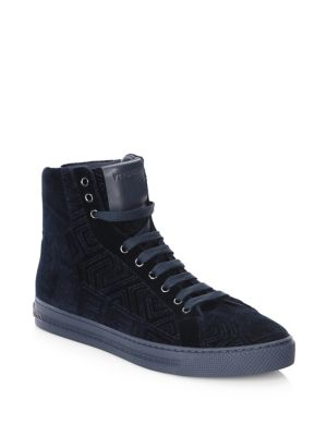 Topstitched Velvet Hi Top Sneakers by Versace