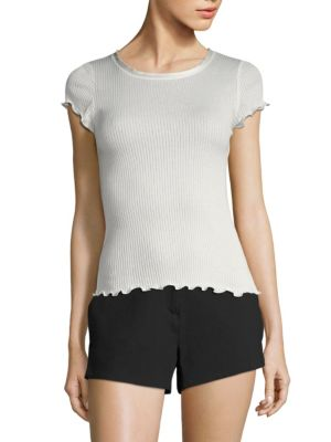 Dillon Lettuce Hem Rib-Knit Tee by Rag & Bone