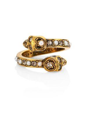 Imitation Pearl & Crystal Ring