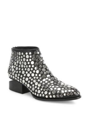 Kori Tilt-Heel Studded Leather Oxford Booties