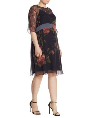 Dicitura Floral-Print Silk Georgette Dress