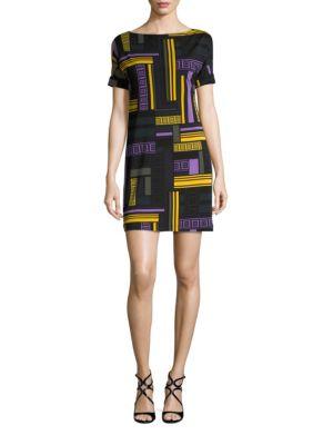 Printed Jersey Cold-Shoulder Shift Dress